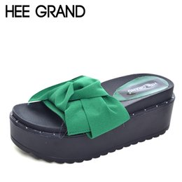 Wholesale HEE GRAND Bowtie Platform Slides Beach Creepers Casual Shoes Woman Slip On Sippers Women Flats Shoes XWZ3477
