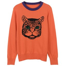 $enCountryForm.capitalKeyWord UK - 2018 High End Red Cat Jacquard Pullover Women Brand Same Style Beads Crystals Knitting Women's Sweaters Runway Style Sweaters 062503