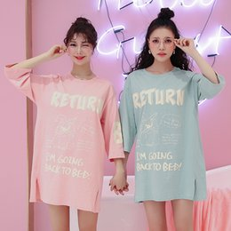 Sexy Short Cotton Nightgowns Canada - Summer Women Nightgowns Cute Print Short  Cotton Sleepwear Nightwear Home 9325506a6