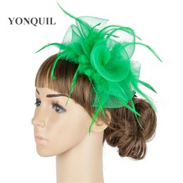 crinoline hair NZ - Fancy green color crinoline fascinator headwear colorful mesh feather wedding race show hair accessories millinery black cocktail hat SYF04
