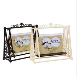 modern living photo frame UK - European Classical Decorative Figurines Creative Cartoon Retro Swing Photo Frame Desktop Ornaments Bedroom Study Photo Frames