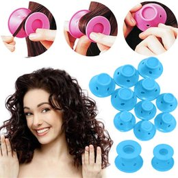 Heated Roller Hair Australia - 10pcs set Soft Rubber Magic Hair Care Rollers Silicone Hair Curler No Heat Styling Tool blue