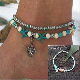 sandals shells 2019 - New Vintage Handmade Sandal Anklet Bracelet Foot Jewelry For Women Multilayer Beads Shell Starfish Mix Pendants Charms A