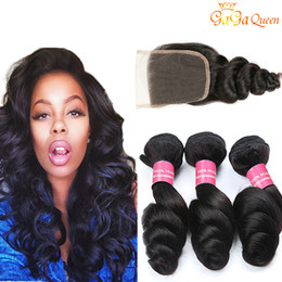 Unprocessed loose wave closUre online shopping - Peruvian Loose Wave Hair bundles With Closure Peruvian Virgin Hair With Closure Unprocessed Human Hair Weaves Bundles With x4 Closure