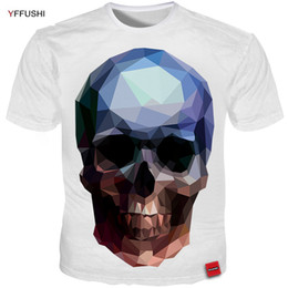 YFFUSHI 2018 Uomo Estate T shirt 2018 Vendita Calda Design Unico 3D Diamond  Skull Uomo Stampa Bianco Tees Cool Streetwear Hip Hop Tops 12783ba58531