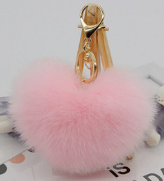 $enCountryForm.capitalKeyWord Canada - New 12*10cm Rabbit Fur Heart Shape Ball PomPom Charm Car Keychain Handbag Pendant Key Rings 18 colors Available