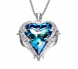Crystals From Austrian Necklaces Women Angel Heart Pendant Blue Purple Austrian Rhinestone Chic Fashion Jewelry Gift
