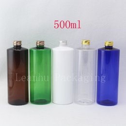 Oil Container Plastic NZ - 500ml Empty Round Cosmetic Oil Bottles Silver Gold Bronze Screw Lid Lotion Plastic Containers DIY Colors PET Bottle Packaging