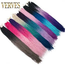 Curly ombre CroChet hair online shopping - VERVES inch Ombre Senegalese Twist Hair Roots pack Crochet braids Synthetic Braiding Hair for Women grey bonde pink brown