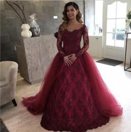 Discount women skirt models - 2018 Burgundy Vintage Full Lace Evening Dresses With Over Skirt Long Sleeve Scoop Sweep Train Long Arabic Women Prom Par