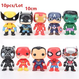 $enCountryForm.capitalKeyWord NZ - 10pcs Lot FUNKO POP DC Justice action figures League & Marvel Avengers Super Hero Characters Model Vinyl Action & Toy Figures for Children