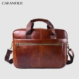 $enCountryForm.capitalKeyWord Canada - CARANFIER Mens Genuine Cowhide Leather Briefcase Business Male Handbags Laptop Bags Men Crossbody Cow Leather Zipper Classic Bag