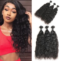 "Discount 24 inch wet wavy human hair - 10A Grade Indian Natural wave human hair 3 bundles 100% Indian Remy Hair Weave Wet and wavy 8""-30"""