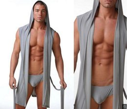 Mens sexy robes online shopping - Summer Mens Sexy Hooded Robes Sleeveless Ice Silk Pajamas Plus Size xl Men lounge kimono sleepwear Sexy Smooth Bathrobe Black