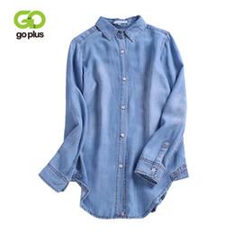 $enCountryForm.capitalKeyWord UK - GOPLUS 2018 New Fashion Thin Cotton Denim Blouses Women Long Sleeve Button Casual Shirt Ladies Plus Size Jeans Feminina Slim Top