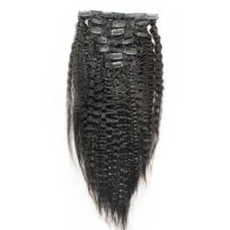 Unprocessed Virgin Blonde Hair Wholesale UK - Natural Black hair yaki clip in extensions 10pcs kinky straight clip in extensions 120g 6a unprocessed virgin clip in hair