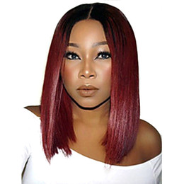 lace front short dark brown bob UK - Lace Front Human Hair wigs Bob Wig Ombre Two Tone T1B99J Straight Brazilian Virgin Hair 130 Density Natural Hairline Glueless Bleached Knots