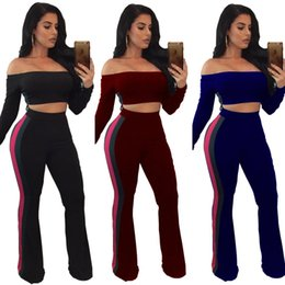 4c61fb39be25d9 Pant Shirt Pieces Canada - sexy off shoulder long sleeve t shirt wide leg  trousers sets