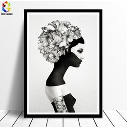 discount abstract flower painting black white nordic decoration flower poster and prints girl canvas painting