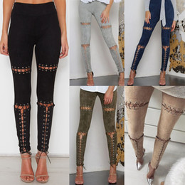 Suede women clothing online shopping - Women Bandage Skinny Pants Hot Sale Retro Suede Pencil Pants Colors Sexy Hollow Out Slim Fit Clothing