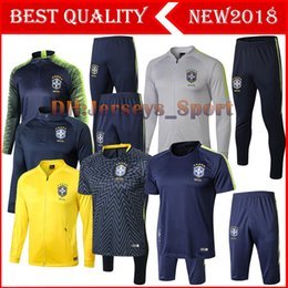 Cup sets online shopping - TOP Quality Brazil Soccer Jacket set World Cup tracksuit yellow PRE MATCH Football jacket kit Coutinho Brazil Training suit