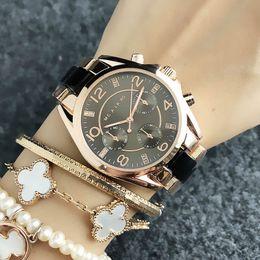Wrist Watches Logos Australia - Fashion Brand women's Girl crystal 3 dials style Metal steel band Quartz wrist Watch With logo M61