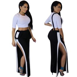 Wholesale Sexy Night Club Tracksuit Short Crop Top With High Waist Spilt Pants pc Set Casual Women Wear For Summer