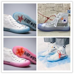 Yarn shoes online shopping - 2018 New Women Men All Star s Chuck Canvas White Brand Designer Casual Running Shoes All Star Transparent Net Yarn Sneakers Size
