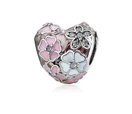 China Free Shipping 30pc SilverCrystal Heart Pink Magnolia Diy Loose Bead Jewelry Marking Charm Fit Pandora European Style Bracelet Necklace Women cheap mark style suppliers