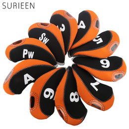 Golf Club Head Covers NZ - 10pcs Golf Head Cover Golf Club Iron Putter Headcover Protector Clubs Accessories Golfer Putter Cover 3 4 5 6 7 8 9 PW SW A