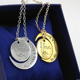 Discount pendant backing - DHL Fast Shipping Fashion Necklace Moon Necklace I Love You To The Moon And Back For Mom Sister Family Pendant Link Chai