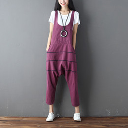 red denim overalls Canada - Vintage Striped Jeans Women Jumpsuit Romper Overalls Casual Trousers Vaqueros Denim Rompers Ankle-Length Wide Leg Pants Female