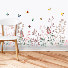 Line Wall Stickers NZ - Grass Wall Skirting line Decals Butterfly Flying among Flowers Mural Poster Wall Border Decoration Art Graphic Headboard Wall Stickers