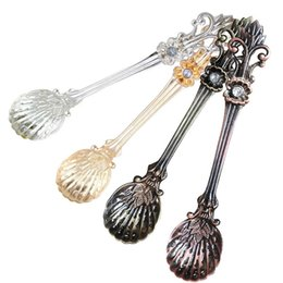 vintage ice cream spoons NZ - Multifunctional Vintage Retro Zinc Alloy Coffee Spoon Unique Soup Tea Ice Cream Scoop 4 Colors Mixing Tool