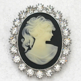 $enCountryForm.capitalKeyWord Canada - 12pcs lot Wholesale Crystal Rhinestone Portrait Cameo Wedding Party prom brooches Fashion Costume Pin Brooch jewelry gift & Pendant C619