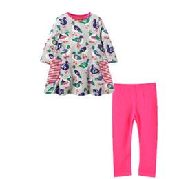 ChoColate Colour dresses online shopping - Toddler Child Girls Suit Birds Pattern Sewing Long Dress Shirt Pants Long Legging Pants Ready To Ship