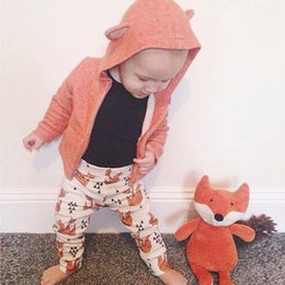 spring orange NZ - Baby Boy Clothes for Autumn Spring,Baby Boys & Girls Orange Color Hoodies Coat With Fox Design Clothes Kids Clothes Set