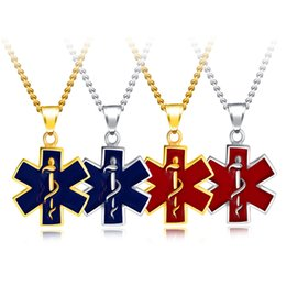 costume jewelry pendant necklaces UK - Stainless Steel Star of Life Pendant Necklace EMSS Logo Costume Jewelry Fashion Accessories Vintage Hexagram Unisex Necklaces Gift Wholesale