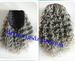 Discount kinky curly short weave Short high kinky curly Silver grey two tone ombre hair weave ponytail hairpiece clip virgin gray drawstring ponytail hai