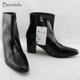 03dcc7fc991e Beertola 2018 New Men s Boots Increase Height 5CM Chunky High Heels Men  Boots Snake Print Genuine Leather Shoes Man Top Quality