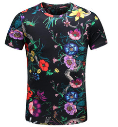 Chinese  2 colors Hot Buy Men T-shirts New Tiger Snake Butterfly Flower Printing Short Sleeve cotton T shirts Summer Tops Tees Plus Size M-XXXL 4XL manufacturers