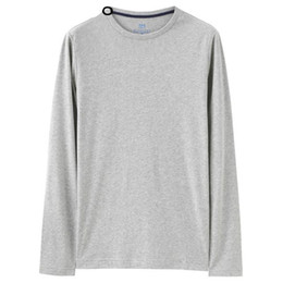 $enCountryForm.capitalKeyWord NZ - Men T -Shirt Solid Ribbed Crewneck Tshirts Long Sleeves Brushed Cotton Warm Fitting Tee Winter Casual Clothing