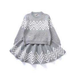 knitting patterns baby clothes 2019 - Baby girls Wave pattern outfits children knitting Sweater+skirts 2pcs set 2018 Spring Autumn Boutique suits kids Clothin