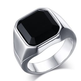 $enCountryForm.capitalKeyWord UK - Square Black Crystal Stone Thick Band Ring Men In Titanium Stainless Steel Silver Color Brief Style Mens Jewelry Large Size