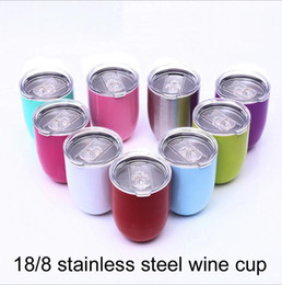 Wholesale The new v shaped oz Egg Cup Wine glass with Lid Stainless Steel Tumbler Double Wall Vacuum Insulated Beer Mugs Rose Gold Thermos