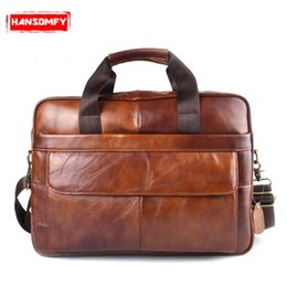 Wholesale Genuine Leather quot laptop bag Handbags Cowhide Men Crossbody Messenger Bag Men s Travel brown leather briefcase