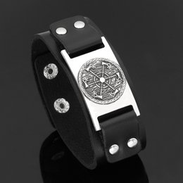 $enCountryForm.capitalKeyWord Canada - New Dropshipping Viking Vegvisir Axe pendants Bangle Nordic Runes Men Jewelry Odin Symbol Leather bracelets Jewelry