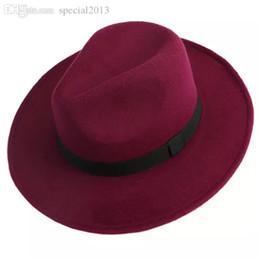 Blue Bowler hats online shopping - Men Women Jazz Bowknot Hard Felt Fedora Bowler Panama Wide Hat Brim Gangster Cap J117
