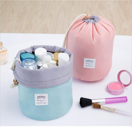 $enCountryForm.capitalKeyWord Australia - Cosmetic Bag Travel Makeup Drawstring Pouch Bucket Barrel Shaped Cosmetic Case Bag Organizer Storage Bags Elegant Drum Wash Bags 6 Colors