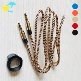 Gold plated audio online shopping - 1 M Aux Cable mm to mm Nylon Wire Gold plated Plug Male to Male Audio Cable for Car Mobile Phone MP3 MP4 Headphone Speaker